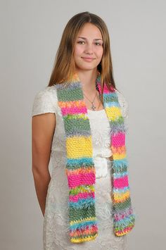 Hippie Bright Spring Color Crochet Scarf by KnotJoe on Etsy, $12.00