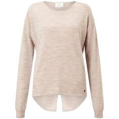 Numph Juniana Merino Wool Jumper, Peach (€46) ❤ liked on Polyvore featuring tops, sweaters, long sleeve tops, pink top, merino wool tops, peach top and lightweight sweaters