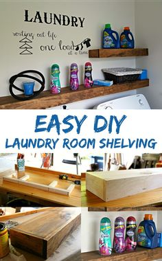 Freshen up your laundry room with this EASY DIY floating shelf project Learn ho. Freshen up your laundry room with this EASY DIY floating shelf project Learn ho… Long Floating Shelves, Floating Shelves Bedroom, Floating Shelves Kitchen, Kitchen Shelves, Laundry Room Shelves, Laundry Room Design, Bathroom Shelves, Laundry Rooms, Shelf Desk