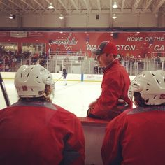 Photo by washingtoncaps - Caps head coach Adam Oates talking with Nicklas Backstrom and Marcus Johansson during today's on-ice session