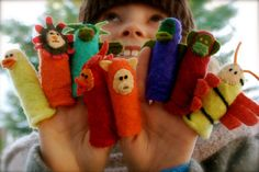 How many stories could a child make up with 8 finger puppets?