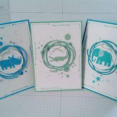 Drei Karten zur #Geburt. Mit meinem Lieblingsset #zoobabys von #stampinup in #minzmakrone #bermudablau und #türkis Nach einer Idee von @sabine_schlemper . Vielen Dank dafür:*