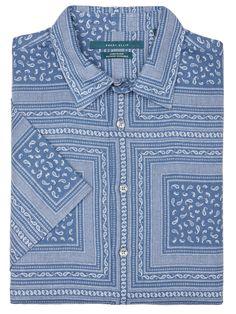 Perry Ellis Short Sleeve Linen Bandana Print Shirt: 62% Linen.38% Cotton. Regular Fit. Poplin… #MensShirts #MensShoes #MensUnderwear