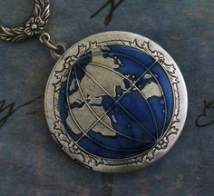 Silver Globe Locket - Planet Earth World Locket