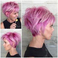 Bubblegum Pink Hair Color and messy short hairstyle short haircut by Alexis Thurston www.hotonbeauty.com