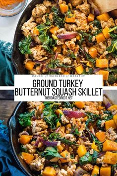 Ground Turkey Butternut Squash Skillet with rainbow chard and onions - an easy healthy dinner recipe that is paleo and whole30 #paleo #glutenfree #whole30 #dinnerrecipe #healthy