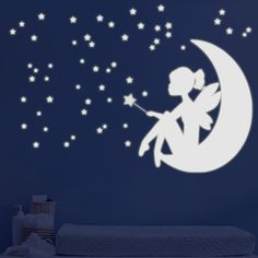 Elegant Fairy Little Girl On The Moon   Glow In The Dark   Phosphorescent Wall  Decals