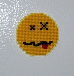 Drunk Smiley Emoticon Cross Stitch - FREE PATTERN