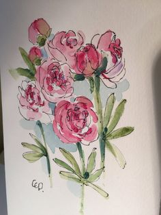 Pink Peony Watercolor Card/ Hand Painted by gardenblooms on Etsy