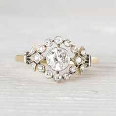 Antique Victorian Platinum and Yellow Gold .50 Carat Diamond & Gold by ErstwhileJewelry, $4000.00