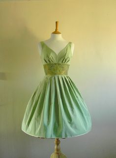 Mint Green Pure Silk Taffeta Prom Dress - made by Dig For Victory