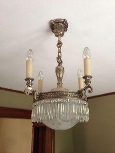 1920 S Lighting Fixtures Chandeliers Art Deco Etched Cut Prisms Vintage 4 Total Ebay