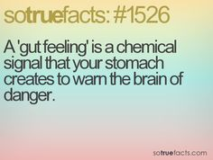 A 'gut feeling' is a chemical signal that your stomach creates to warn the brain of danger.