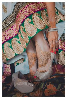 A beautiful bridal capture featuring champagne heels. Photo Courtesy- Katia Peshakova Photography