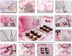 cherry blossom party *cherry blossom branch for decoration *chocolate covered oreos with cherry blossom fondant for dessert table *pink table covers Chinese Party, Asian Party, Cherry Blossom Party, Cherry Blossoms, Blossom Flower, Magie Party, Japanese Theme Parties, Japanese Birthday, Doll Party