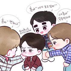 Chanbaek Fanart, Baekhyun Fanart, Kpop Fanart, Exo Xiumin, Kpop Exo, Exo Cartoon, Exo Stickers, Chibi Body, Cute Bunny Pictures