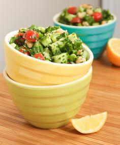 Big Batch Meal Prep - Lemony Chickpea Tabbouleh Salad | Eat Spin Run Repeat #eatclean #vegan #vegetarian #lunch #glutenfree