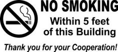 No smoking within 5 feet sign