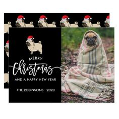 Pug Dog Holiday Seasons Greetings photo Card - Xmascards ChristmasEve Christmas Eve Christmas merry xmas family holy kids gifts holidays Santa cards