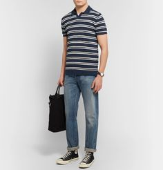 Todd Snyder Striped Cotton-blend BouclÉ Polo Shirt In Navy Todd Snyder, Converse Sneakers, Polo Shirt, Mens Fashion, Navy, How To Wear, Cotton, Shirts, Clothes