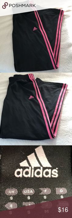 ADIDAS Black with Pink Stripes Sweats Cute and comfortable ADIDAS sweats nice for a lazy day when you don't feel like wearing jeans! adidas Pants Track Pants & Joggers