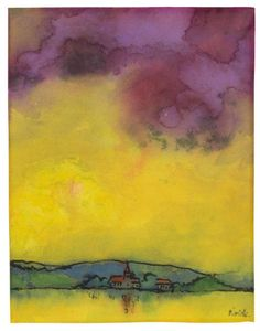 Emil Nolde (German, 1867-1956), Landschaft mit Kirche (Gelb und Violett) [Landscape with church (Yellow and purple], c1931. Watercolour on Japan paper, 19.7 x 15.4 cm.