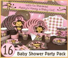 1000 images about girl monkey baby shower theme ideas on for Baby shower decoration packs