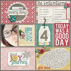 More digi Project Life ideas from the Daily   I like to have more pics on a page but this is a cute idea.MD