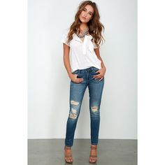 Blank NYC Vodka Diet Medium Wash Distressed Skinny Jeans ($83) ❤ liked on Polyvore featuring jeans, blue, white skinny jeans, white distressed jeans, blue jeans, ripped jeans and super stretch skinny jeans