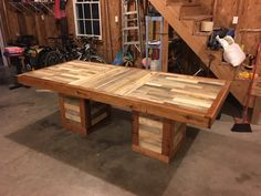 #Dinner, #Kitchen, #PalletTable, #PalletWood, #RecyclingWoodPallets Someone asked me to build them a kitchen table, so I started brainstorming and came up with my own design for this one of a kind table.