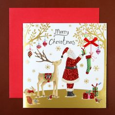 クリスマスカード (ゴールド クリスマス)01 サンタとトナカイ | ROOM - my favorites