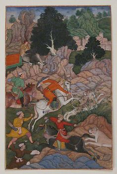 """""""Akbar Hunting,"""" folio from an Akbarnama (History of Akbar) - """"Akbar Hunting,"""" folio from an Akbarnama (History of Akbar) Object Name: Folio from an illustrated manuscript Date: late 16th century Geography: present-day Pakistan, probably Lahore Culture: Islamic Medium: Opaque watercolor, ink, and gold on paper Dimensions: Painting: 7 1/2 x 4 7/8 in. (19.1 x 12.4 cm)"""