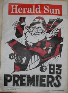 Weg Premiers Poster 1993 Essendon Bombers: Print on A3 to make posters!