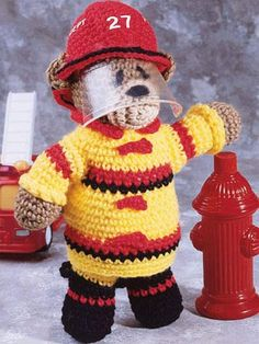 Crochet for Babies & Children - Accessories to Crochet for Kids - Fireman Bear
