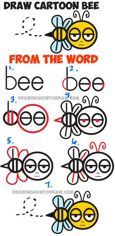 "How to Draw Cartoon Bee from the Word ""bee"" – Easy Step by Step Drawing Tutorial – How to Draw Step by Step Drawing Tutorials Learn How to Draw Cartoon Bee from the Word ""bee"" – Simple Steps Drawing Lesson Word Drawings, Doodle Drawings, Easy Drawings, Simple Cartoon Drawings, Drawing Lessons, Drawing Techniques, Drawing Tips, Drawing Tutorials, Learn Drawing"