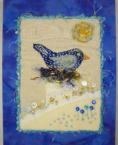 Items similar to Fiber Art Bluebird on Nest on Etsy
