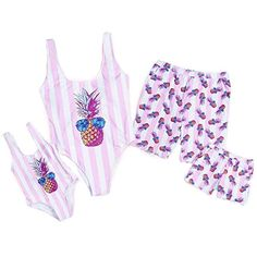 b2748a5e9c3 PatPat Mommy and Me Swimsuit One Piece Pineapple Printed Family Matching  Swimwear Men  XL