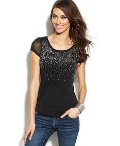 INC International Concepts Cap-Sleeve Illusion Studded Top - INC International Concepts - Women - Macy's