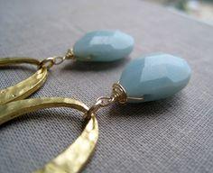 Amazonite hoop earrings, gold hammered hoop with powder blue gemstone earrings, pale blue, azure on Etsy, $15.00