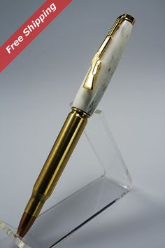 Bullet Pen 30 Cal. Brass Cartridge Copper Bullet by woodenquill