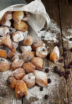 Baby Blueberry Beignets - bite-sized beignets, dotted with blueberries and topped with lots of powdered sugar | Seasons and Suppers