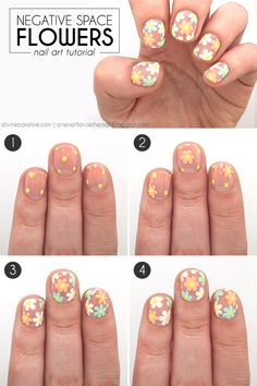 Working with a blank canvas nail creates a new look in this pretty flower design. If you can make dots, you can do this! #nails #summernails #nailart