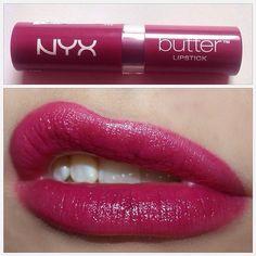 Oh my god look at this color! Beautiful!!! It's NYX Butter lipstick in (Hunk), the shade is a bit more purplish in person. - - جوفوا هاللون شكثر اينن! وايد حبيته!! الحمرة اهيه NYX Butter Lipstick (Hunk). الحمرة في الصج لونها مايل للبنفسجي اكثر.  Pinterest.com & Inthemakeupaisle.blogspot.com #gulfbeautylipstick
