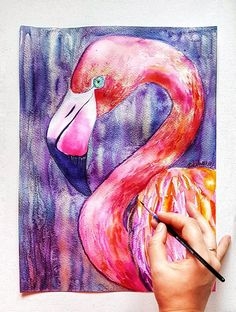 Flamingo in gold, original watercolor painting. #homedecor #flamingo #bird #tropical #wallart #christmas #giftforher