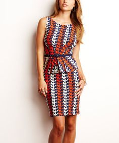 Storkprint Carol Belted Dress by Amadi