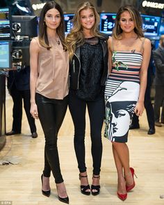 Making money: on Tuesday, Lily, Nina and Chrissy posed on the floor of the New York Stock Exchange Chrissy T, Sports Illustrated Swimsuit Covers, Nina Agdal, T Dress, Model Street Style, Lily Aldridge, Winter Fashion, Cute Outfits, Celebs