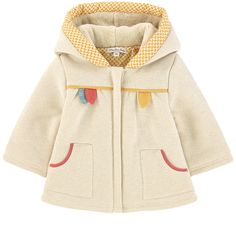 Cotton fleece    Lining: Cotton percale False fur hood lining Comfortable item Snug padding Large hood Pointed hood Long sleeves Large front pockets Flared hem Back pleat Zipper on the front Anti-pinch strap Lurex thread Contrast piping - $ 70.40