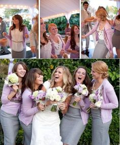 Bridesmaids in cute pencil skirts and cardigans. Such a nice alternative to the usual and expensive bridesmaid dress!