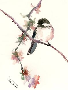 watercolor art Chickadee one of a kind watercolor painting, bird art, nursery art children room chickadee illustration wall art songbird by ORIGINALONLY on Etsy