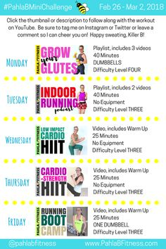 2017 november 13 - 17 week seven 5 day workout plan, workout plans 5 Day Workout Plan, 5 Day Workouts, Workout Plan For Beginners, Workout Challenge, Workout Plans, Muscle Building Women, Muscle Building Diet, Warm Up Cardio, Muscle Diet